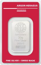 Silberbarren 20g Argor Heraeus 999 Feinsilber 20 Gramm Swiss silver bar