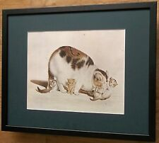 Cat with Kittens by Gottfried Mind, 20''x16'' frame, framed cat and kitten print