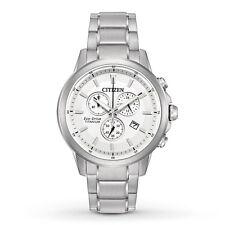 New Citizen Eco-Drive Super Titanium Chronograph Men's Watch AT2340-56A