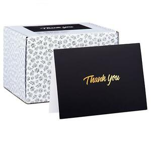 100 Thank You Cards - Black Bulk Note Cards with Gold Foil Embossed Letters -