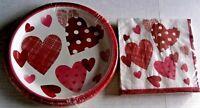 VALENTINE'S DAY PAPER PLATES & NAPKINS  10 Plates/20 Napkins  JOYFUL HEARTS