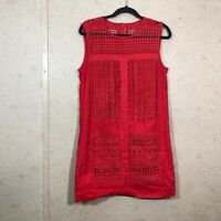 J.Crew Women's Size S Small Geo-Lace Shift Dress Red Crochet Lace Front