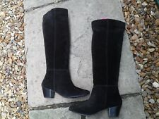 "DUNE ""TARRY"" BLACK SUEDE UNLINED PULL ON BOOTS UK SIZE 5   EU 38"