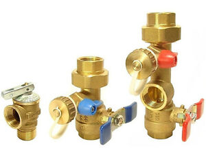 """Rinnai - 3/4"""" Tankless Water Heater Isolation Valves Kit With Relief Valve"""