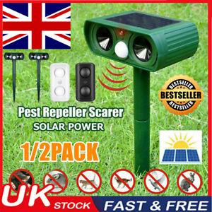 Ultrasonic Animal Repeller Solar Powered Fox Pest Scarer Deterrent Repellent UK