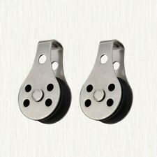 2pcs Nylon Rope Single Pulley Stainless Steel Boat Pulley Tackle Puller Lift