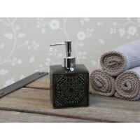 Chic Antique Seifenspender mit Muster schwarz Porzellan Shabby Vintage Brocante