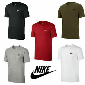 Mens Nike Logo T-Shirt Sports Top Retro Fitted Cotton Tee Size