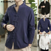 Retro Chinese Men's Casual Long Sleeve Linen Cotton Loose Buttons Tops T Shirts