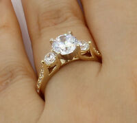 2 Ct 14K Real Yellow Gold Round 3 Stones Wedding Engagement Propose Promise Ring