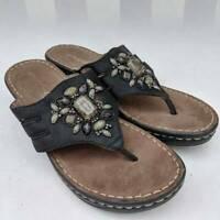 Natural Soul By Naturalizer Womens Stance Thong Sandals Black Embellished 6 M