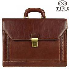 Borsa di Cuoio Laptop Bag Uomo Marrone Scuro Business Made in Italy