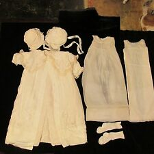 Christening Baptism Gown 6 pc Antique Yolande Unisex Coat Robe Hats Slip France