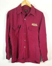 Von Dutch Men's Button Front Long Sleeve Red Logo Flap Pockets Silk Sz M