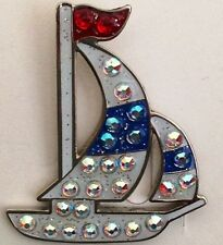 Magnetic Swarovski Crystal Ball Marker Sailboat
