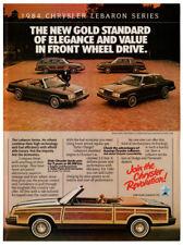 1984 CHRYSLER LeBaron convertible Vintage Original Print AD Woodie car English