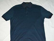 Ermenegildo Zegna Blue Horizontal Striped Polo Golf Shirt Mens Size Medium M 50