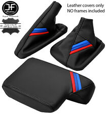 BLACK LEATHER M STRIPES GEAR HANDBRAKE ARMREST COVER FOR BMW 3 SERIES E36 91-99