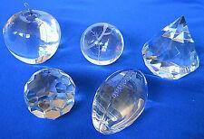 (5) Tiffany Crystal Paperweights - Apple, Baseball, Diamond, Dome, Football