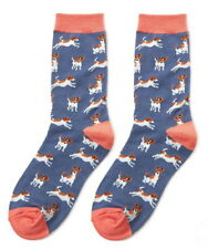 Jack Russell Socks Navy Blue Ladies Christmas Novelty Dog Gift Bamboo Dogs New