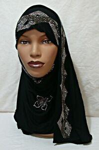 BLACK Rhinestone Glam Jersey Scarf 68x23 Muslim Hijab Headcover Fall Shawl