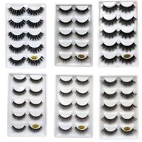 5Pairs 100% Real Mink 3D Volume Thick Daily False Eyelashes Strip Lashes