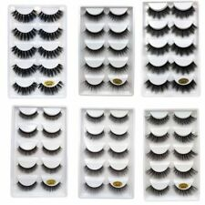 5Pairs Handmade Real Mink 3D Full volume False Eyelashes Thick Long Lashes