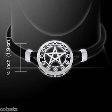 Pagan Wicca Pentagramme Argent Sterling réglable Collier En Cuir Peter Stone