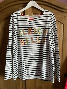 JOULES WOMENS HARBOUR CHRISTMAS FESTIVE TOP - SLEIGH BELLE - SIZE 16