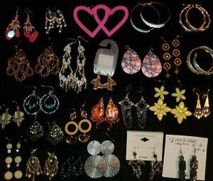 Vintage Mod New Mixed Lot 25 Pr Dangle Post Earrings Crystal Enamel Handcrafted