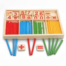 Colourful Montessori Teaching Tool Math Number Wood Blocks Preschool Kids Toy