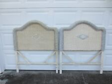 Pair Wicker Twin size Headboards Rattan Cottage Coastal Tropical Shabby Chic 2