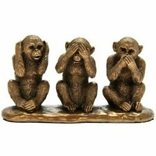 More details for small reflections bronzed 3 wise monkeys see no evil hear speak ornament figure
