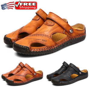 Mens Summer Beach Sandals Leather Casual Hiking Closed Toe Shoes Sport Plus Size