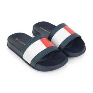 Tommy Hilfiger Flag Slides Sandals Flip Flops Pool Navy Ladies/Kids All Sizes