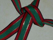 Metallic gold red green black grosgrain ribbon fabric 3 yard lot