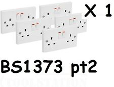 NEW electrical White double plug socket 13a amp twin switched 2 gang BS1363