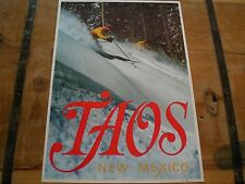 Vintage SKI Poster for *TAOS* SKI Area ~ Deep POWDER SKIING + FREE SHIPPING!