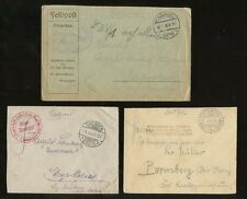 GERMANY WW1 MILITARY...3 ITEMS...FELDPOST ENVELOPES...VARIOUS MARKINGS