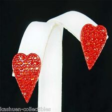 ~RED Love HEART~ made with Swarovski Crystal Valentine Gothic Stud Earrings Sexy
