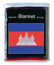Cambodia Flag Fleece Blanket *New* 5 ft. x 4.2 ft. Cambodian Travel Throw Cover