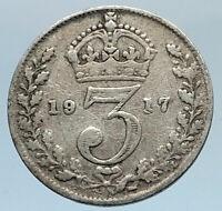 1917 UK Great Britain United Kingdom KING GEORGE V Silver Threepence Coin i74350