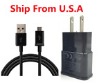 2A Charging Wall Charger +3FT Long Micro USB Data Cable for Samsung S6 Note4 BLK