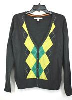 Old Navy Women Argyle Pattern Button Front Long Sleeve Cardigan Knit Sweater L