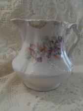 Antique Hand-Painted Bavarian Porcelain Purple Pansy Syrup Jug Pitcher Creamer