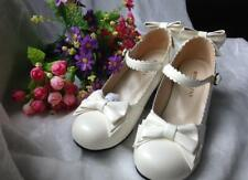 Chic Womens Strap Med Heels Block Buckle Lolita Bowknot Cosplay Mary Janes Shoes