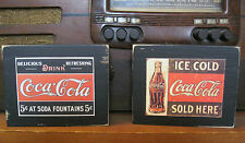 Two Vintage Coca Cola Advertising Primitive Distressed Wooden Sign Shelf Sitters
