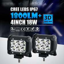 "2x 4"" 18W LED LIGHT Bar CREE Flood/Spot BEAM DRIVING MOTORCYCLE WORK OFFROAD FOG"