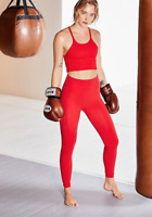 NEW Free People Movement High Waist Sculpt Leggings Red, Made in Italy $127.40