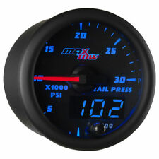 MaxTow 52mm Black & Blue 30,000 PSI Fuel Rail Pressure Gauge for Cummins Duramax